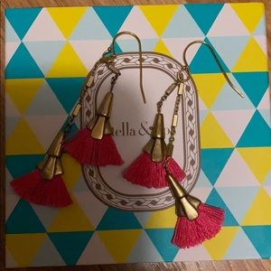Stella & Dot pink tassel earrings